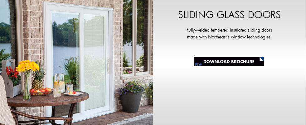 Fully-welded tempered insulated sliding glass door available in two or three panels right or left slide. Nominal sizes are 5\u0027 6\u0027 8\u0027 9\u0027 and 12\u0027. & Sliding Glass Doors | Northeast Building Products